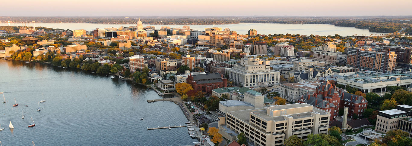 Aerial view of the isthmus, Capitol, and UW-Madison Campus in Madison, Wisconsin